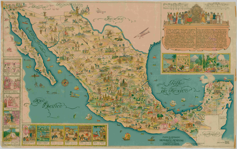 Bnu Cd Mapa Ilustrado De La República Mexicana